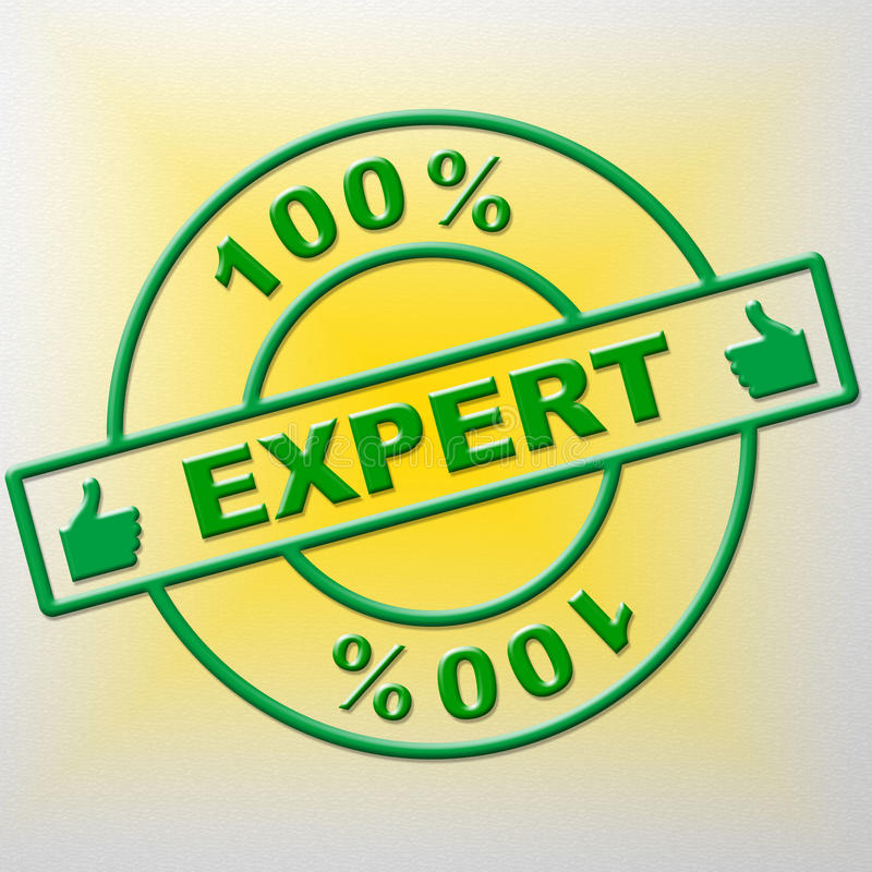 O perito de cem por cento indica a proficiência e os peritos do treinamento ilustração royalty free