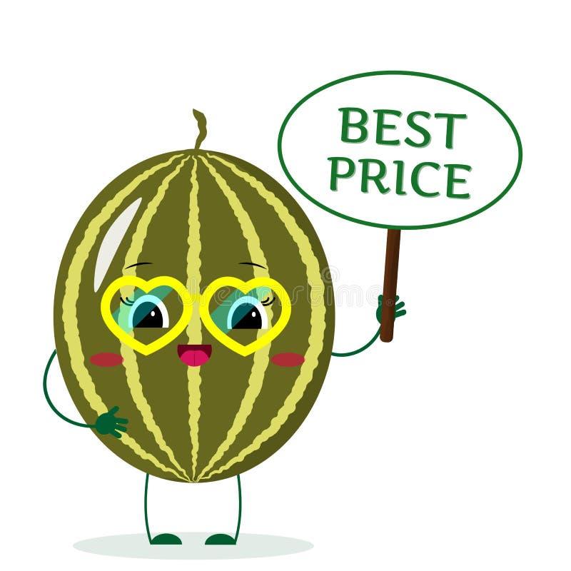 O personagem de banda desenhada bonito da melancia em vidros amarelos do coração, nas mãos da placa é o melhor preço ilustração stock