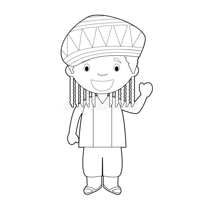 O personagem de banda desenhada colorindo fácil de Jamaica vestiu-se na maneira tradicional com dreadlocks Ilustra??o do vetor ilustração do vetor