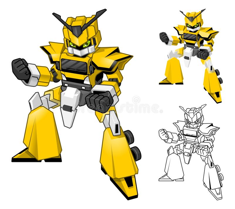 O personagem de banda desenhada do caminhão do robô inclui o projeto e a linha lisos Art Version ilustração stock