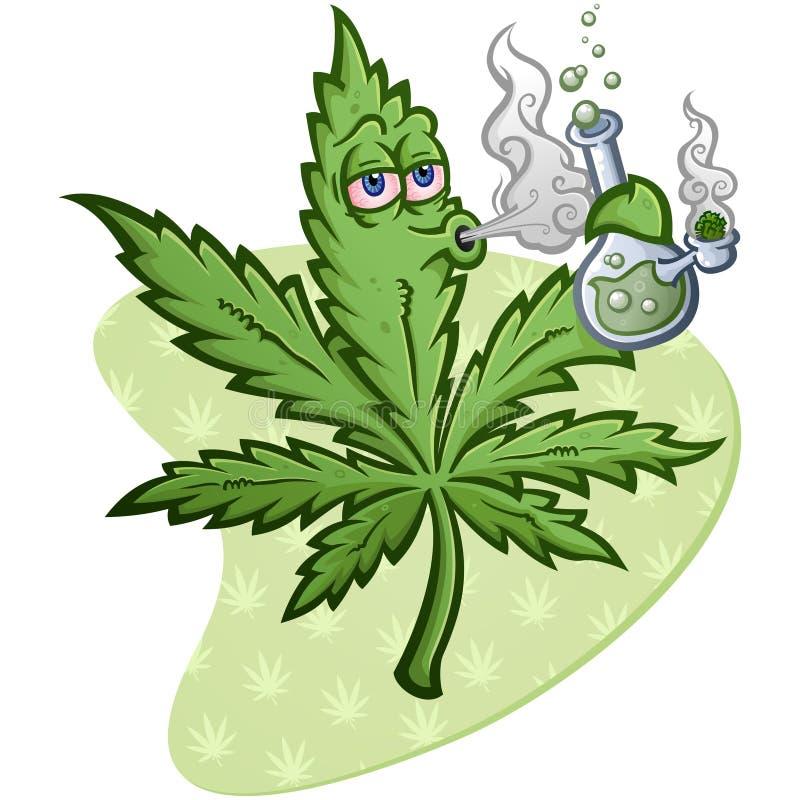 O personagem de banda desenhada do vetor da folha da marijuana que fuma a Bong ilustração stock