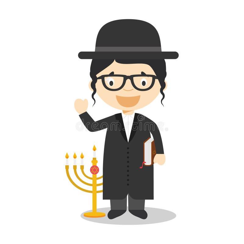 O personagem de banda desenhada judaico do rabino de Israel vestiu-se na maneira tradicional ilustração royalty free