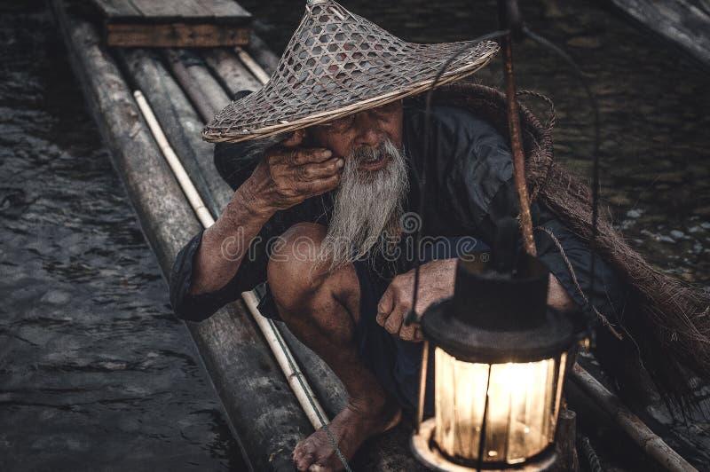 O pescador do cormorão imagem de stock