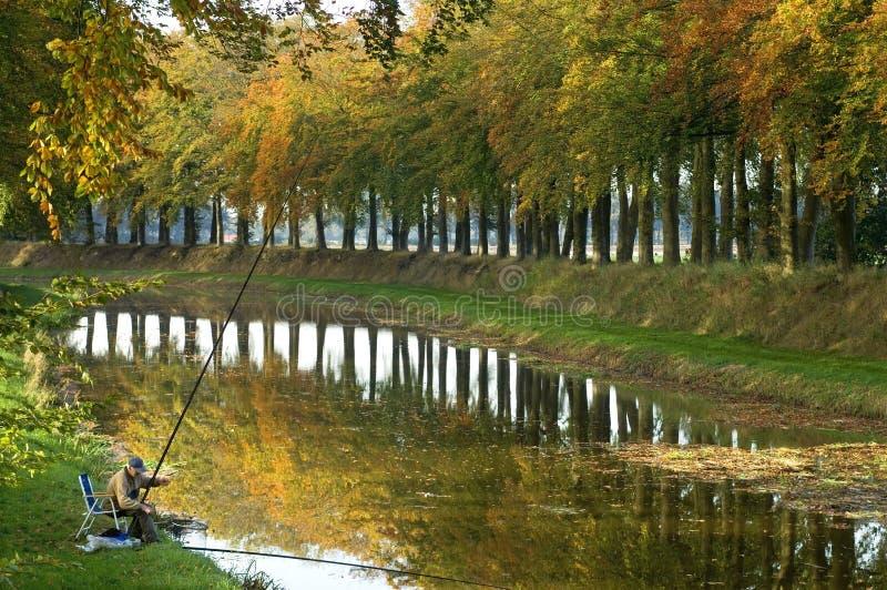 O pescador está pescando na margem na paisagem do outono imagem de stock