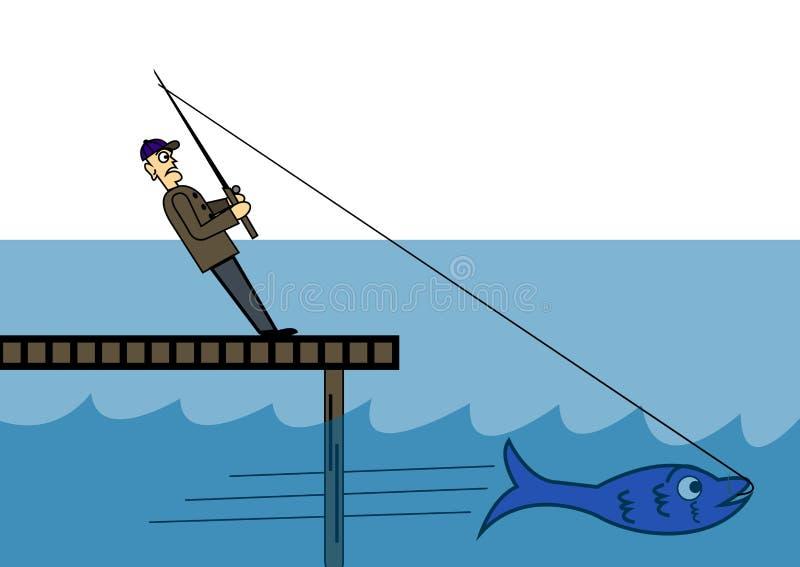 O pescador trava um peixe grande ilustração do vetor