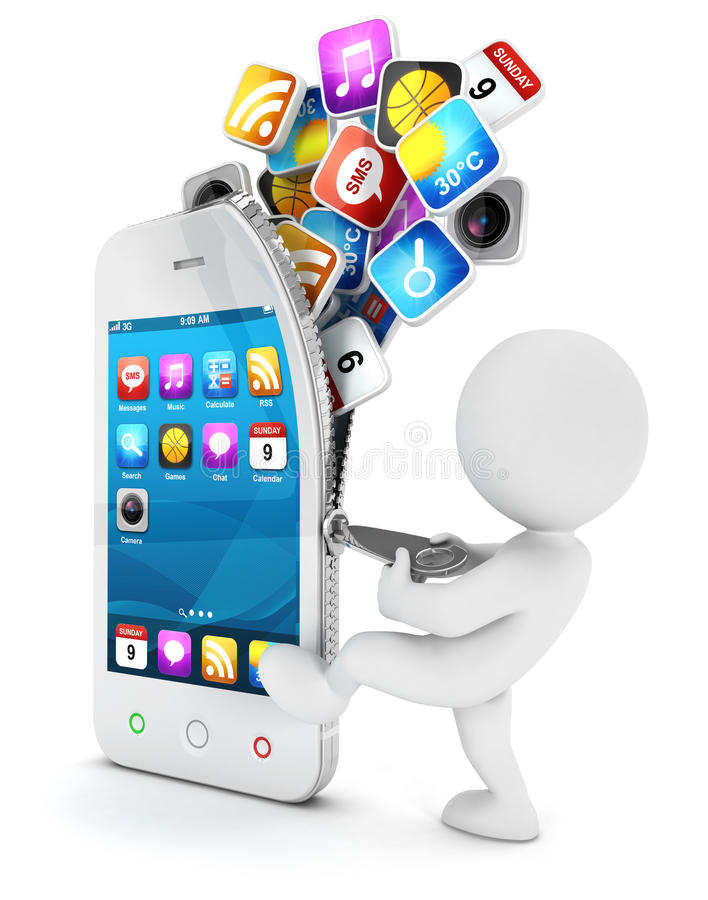 o pessoa 3d branco abre um smartphone ilustração do vetor