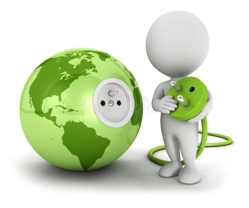 o pessoa 3d branco conecta o plugue dentro da terra verde ilustração stock