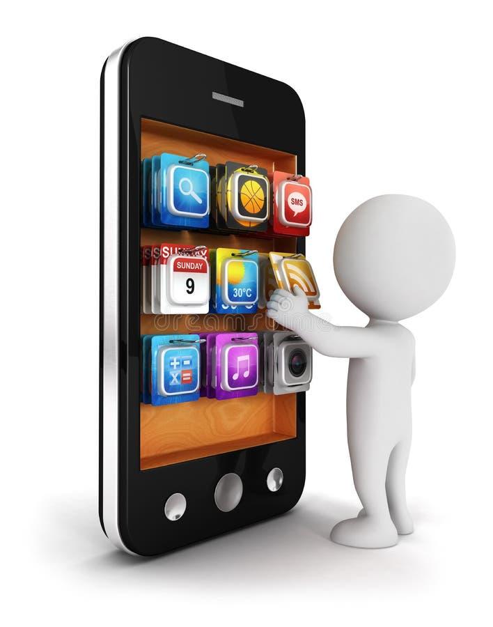 o pessoa 3d branco escolhe um app para o smartphone ilustração stock