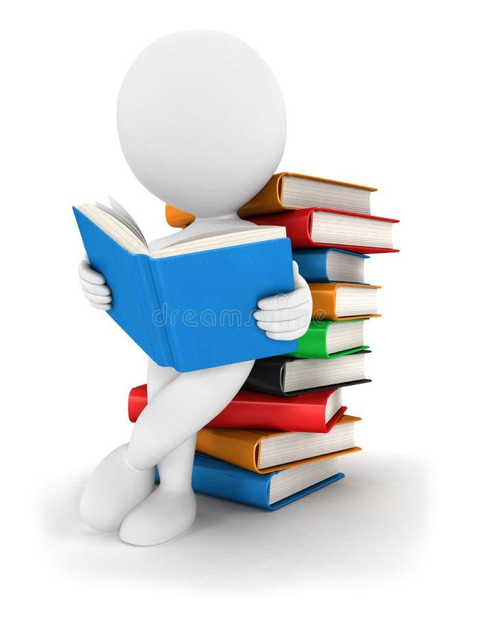 o pessoa 3d branco lê um livro
