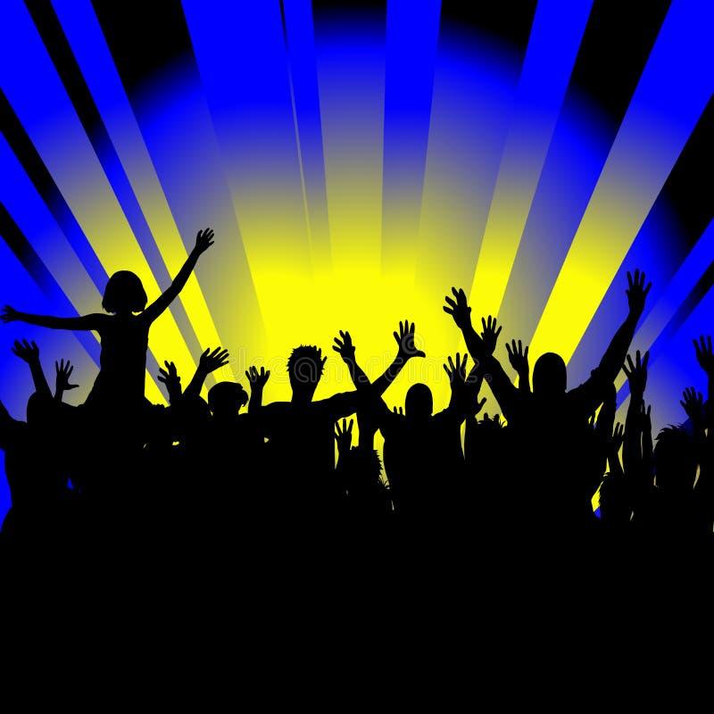 O pessoa alegre da multidão mostra em silhueta a dança no partido ilustração stock