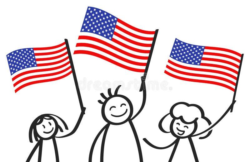 O pessoa americano Cheering, vara feliz figura com bandeiras nacionais, suportes dos EUA que sorriem e que acenam a bandeira star ilustração royalty free