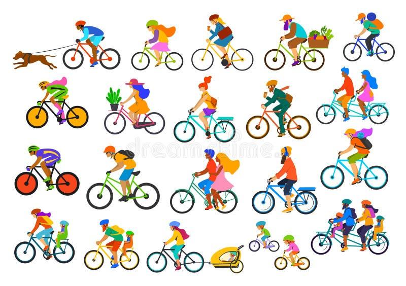 O pessoa ativo diferente colorido brilhante que monta bicicletas coleção, mulher do homem acopla as crianças dos amigos da famíli ilustração do vetor