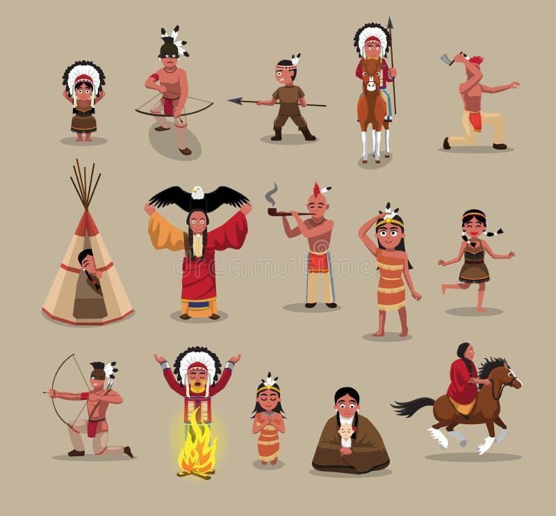 O pessoa do nativo americano levanta a ilustração do vetor dos desenhos animados ilustração do vetor