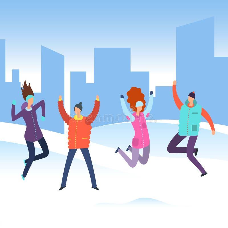 O pessoa dos desenhos animados no inverno veste-se na paisagem da cidade ilustração stock