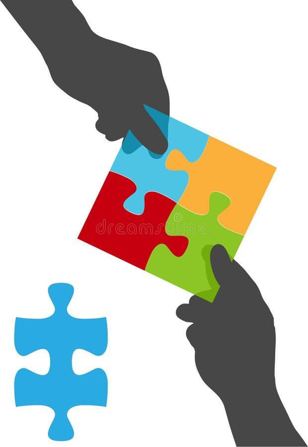 O pessoa entrega a solução do enigma da colaboração da equipe ilustração do vetor