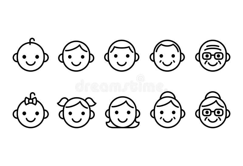 O pessoa envelhece ícones ilustração royalty free