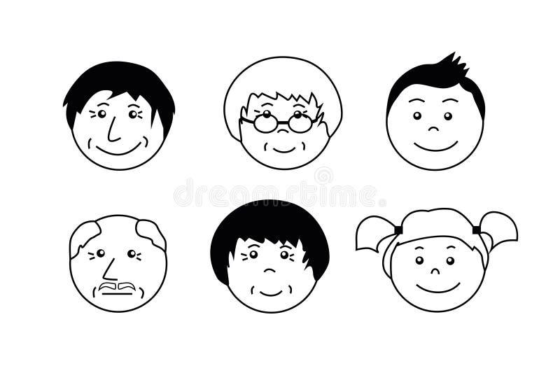 O pessoa envelhece ícones Cara da avó, do avô, do menino e da menina ilustração stock