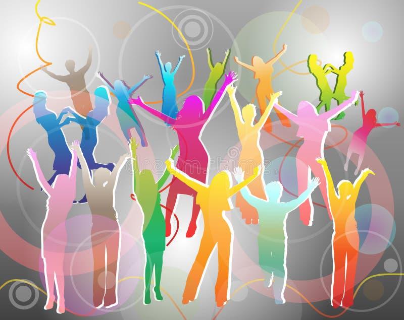 O pessoa feliz mostra em silhueta a dança ilustração stock