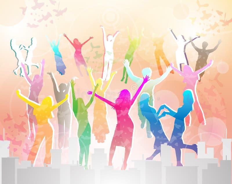 O pessoa feliz mostra em silhueta a dança ilustração royalty free