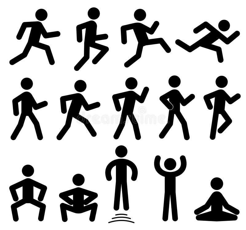 O pessoa figura no movimento, corredor, andar, saltando ícones do preto do vetor ilustração stock