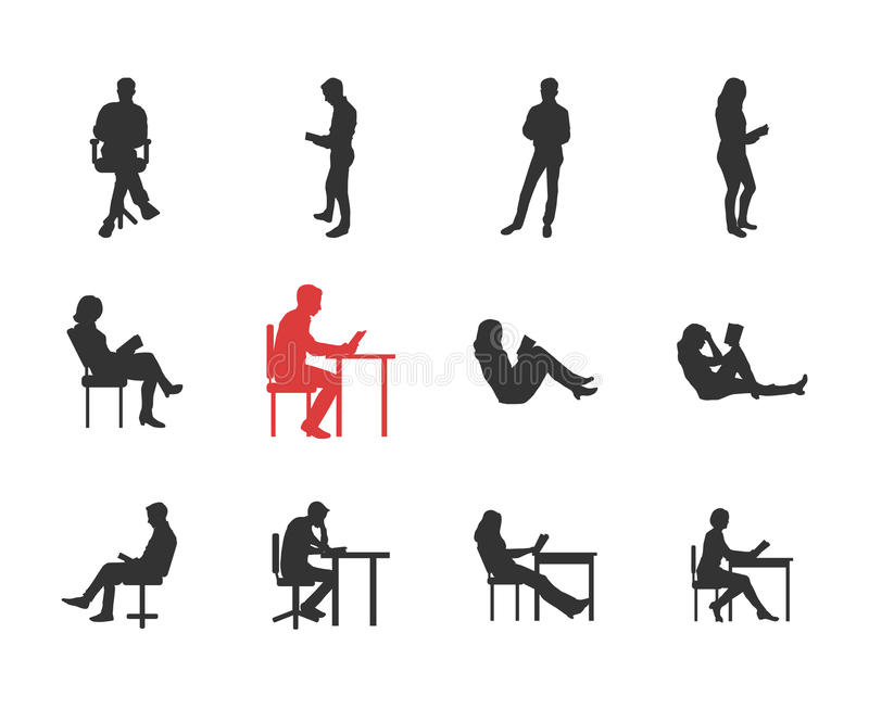 O pessoa, homem, silhuetas fêmeas na leitura comum ocasional diferente levanta ilustração stock