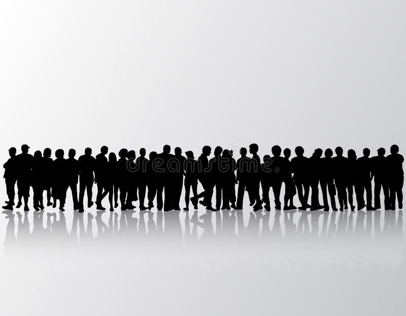 O pessoa mostra em silhueta mulheres e homens do grupo ilustração do vetor