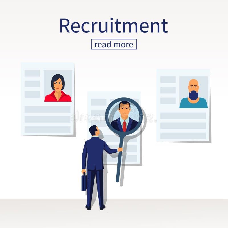 O pessoal do resumo da busca do empregador do homem de negócios seleciona candidatos ilustração do vetor