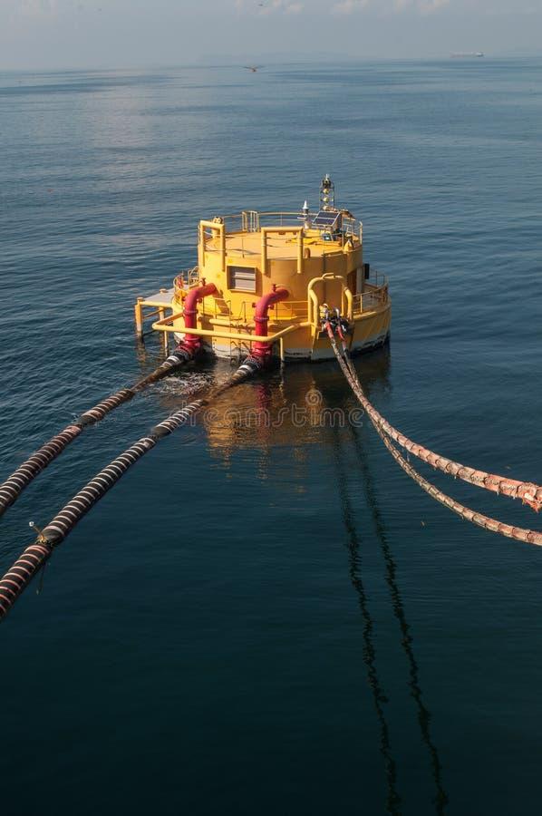 O petroleiro de óleo está transferindo o óleo à embarcação de carga imagens de stock royalty free