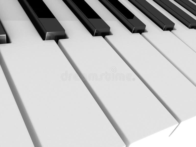 O piano fecha preto e branco ilustração stock