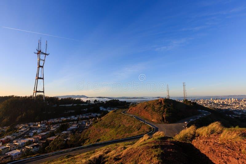O pico gêmeo famoso em San Francisco foto de stock royalty free
