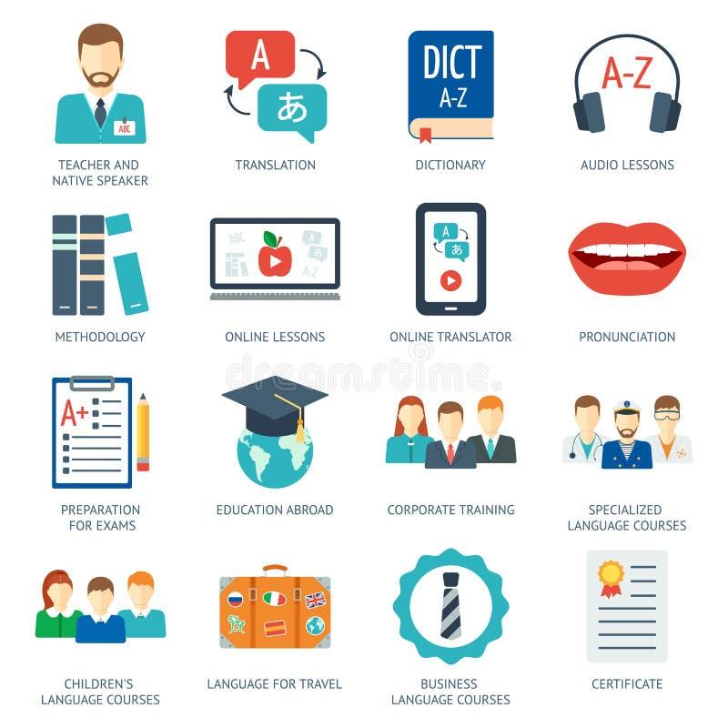 O pictograma e os ícones ajustaram-se para cursos e escolas da língua estrangeira Projeto liso Vetor ilustração do vetor
