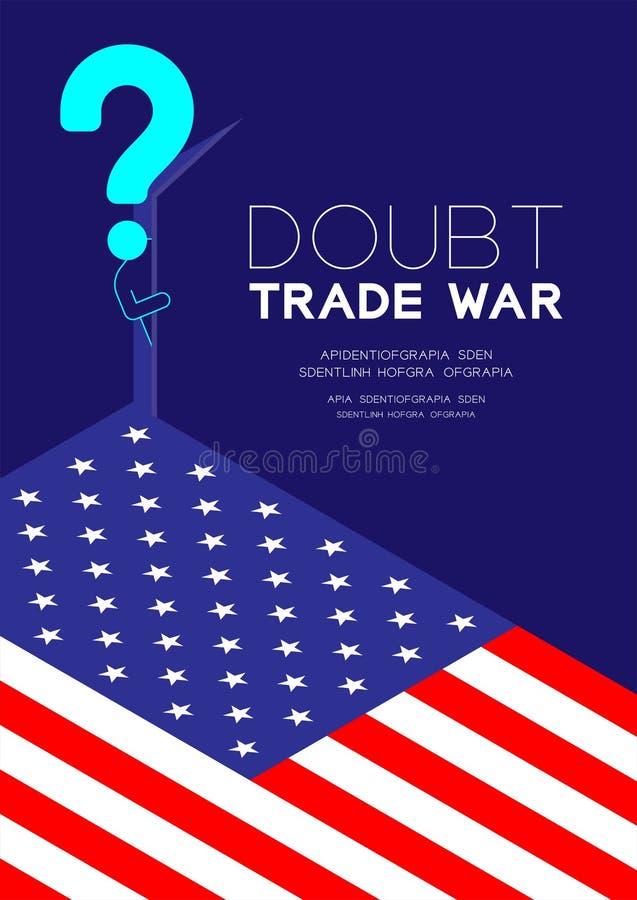 O pictograma e o ponto de interrogação do homem abrem a porta à sala escura com teste padrão da bandeira de América, guerra comer ilustração stock