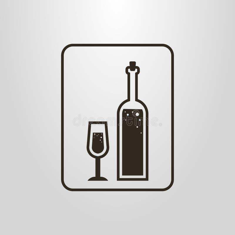 O pictograma simples do vetor da garrafa de vinho e do vidro de vinho é um quadro ilustração royalty free