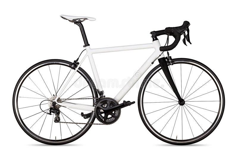 o piloto de competência preto branco da bicicleta da bicicleta da estrada do esporte isolou-se fotografia de stock