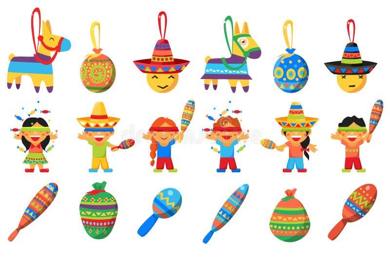 O Pinata, elementos para o partido mexicano, crianças que quebram o asno tradicional deu forma a ilustrações do vetor do Pinata e ilustração royalty free