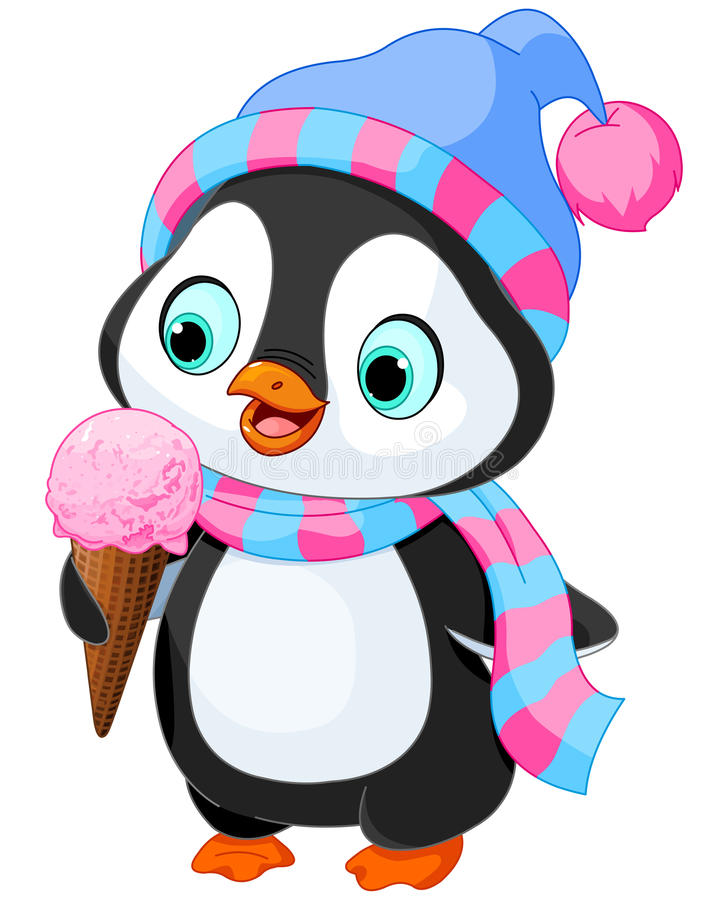 O pinguim come um gelado