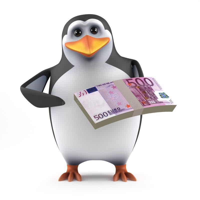 o pinguim 3d guarda Euros ilustração royalty free
