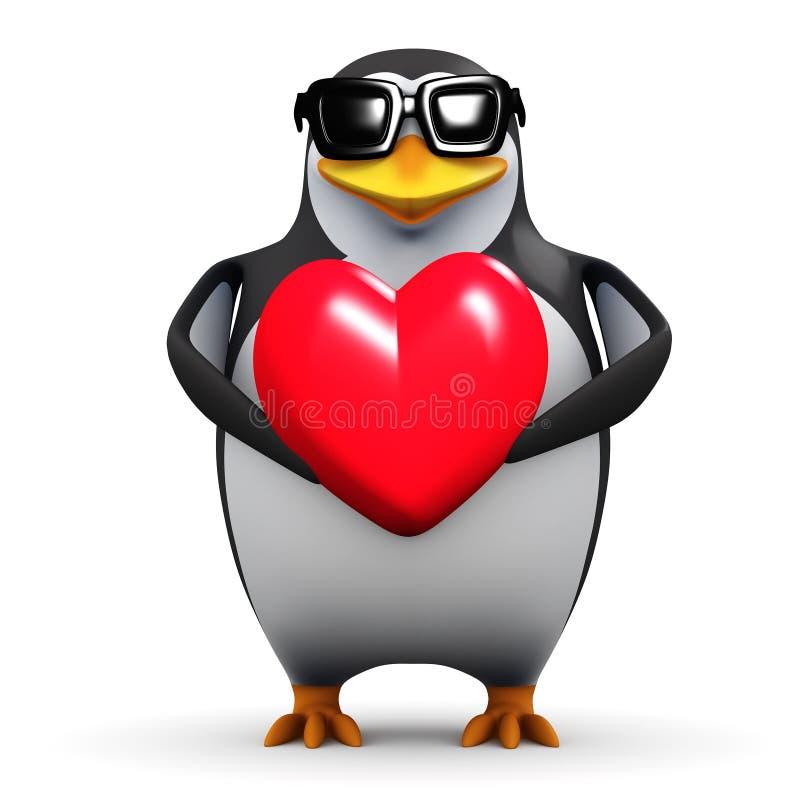 o pinguim 3d guarda um coração vermelho ilustração stock