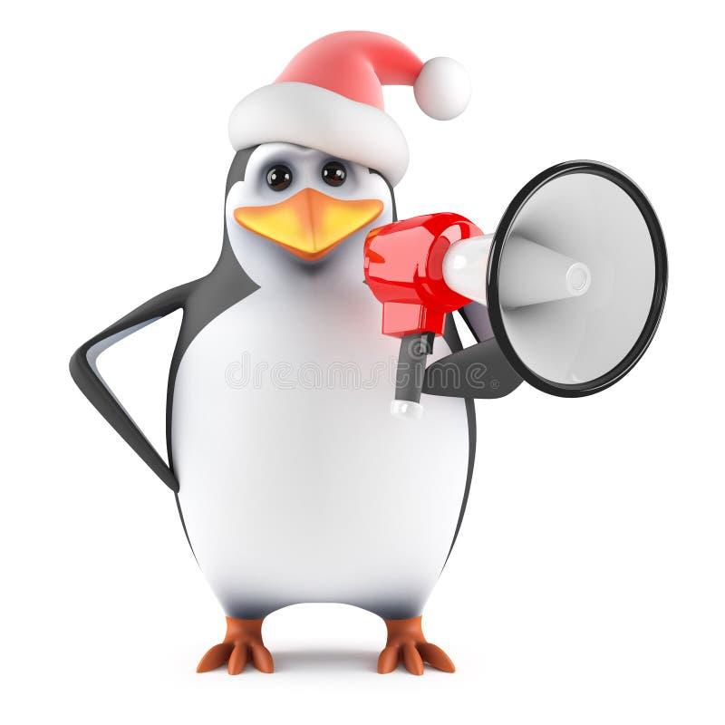 o pinguim de 3d Santa grita através de um megafone ilustração stock