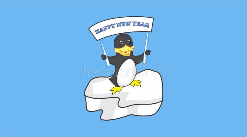 O pinguim quer dizer o ano novo feliz ilustração stock
