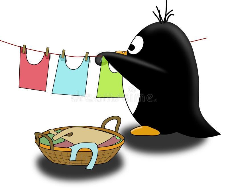 O pinguim seca o linho ilustração royalty free