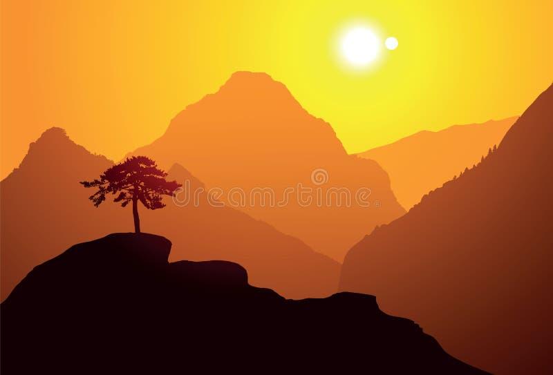 O pinheiro na montanha ilustração do vetor