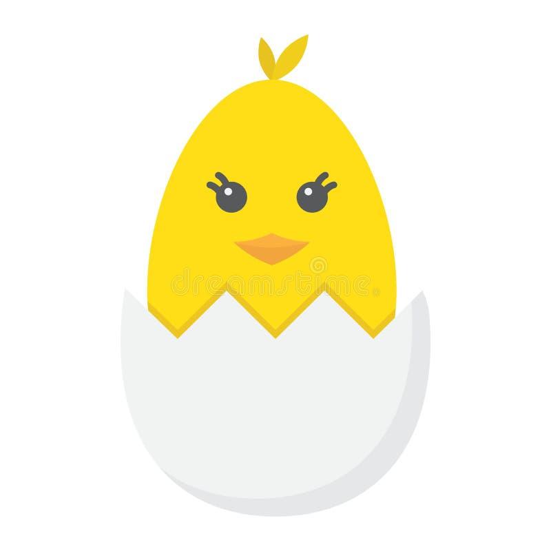 O pintainho chocou de um ícone liso do ovo, easter ilustração royalty free