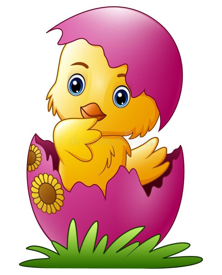 O pintainho pequeno bonito dos desenhos animados chocou de um ovo isolado em um fundo branco ilustração do vetor