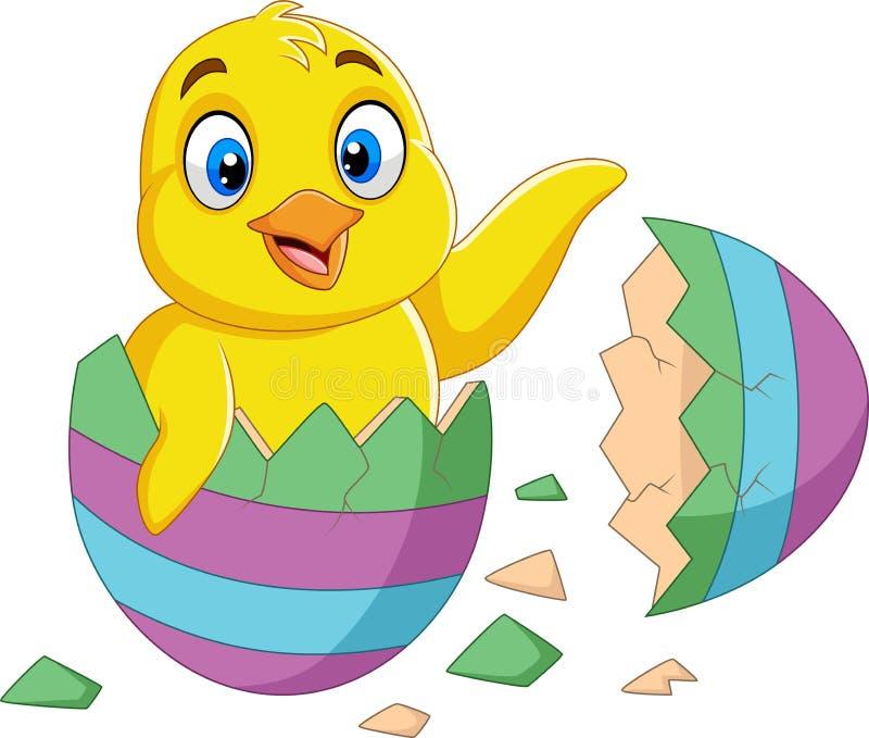 O pintainho pequeno dos desenhos animados chocou de um ovo ilustração stock