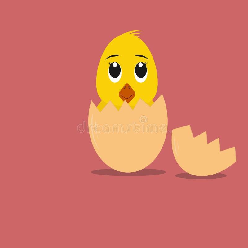 O pintainho pequeno macio dos desenhos animados chocou de um ovo ilustração royalty free