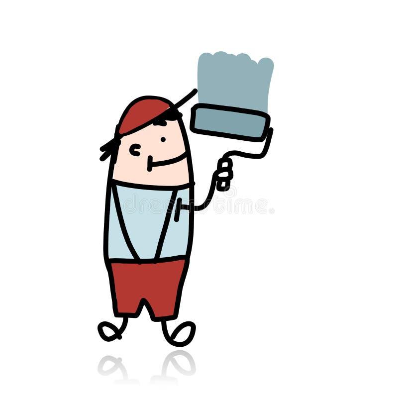 O pintor de casa com rolo pinta a parede, desenhos animados ilustração royalty free