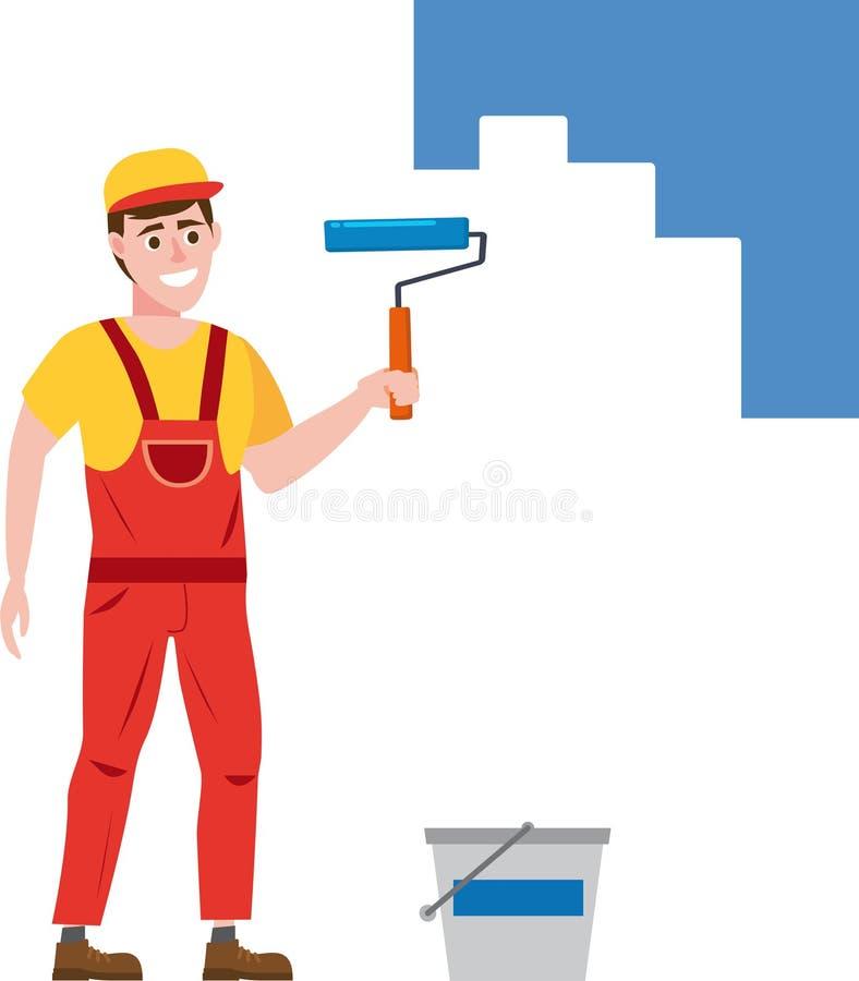 O pintor que o homem pinta a parede está guardando um rolo de pintura à disposição, profissão, caráter, uniforme, cubeta Vetor ilustração stock
