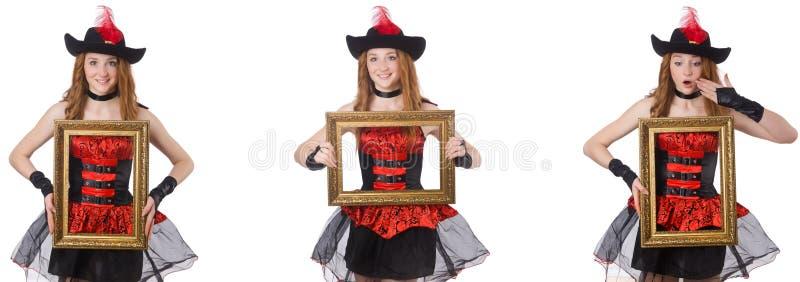 O pirata da mulher com a moldura para retrato isolada no branco fotos de stock royalty free