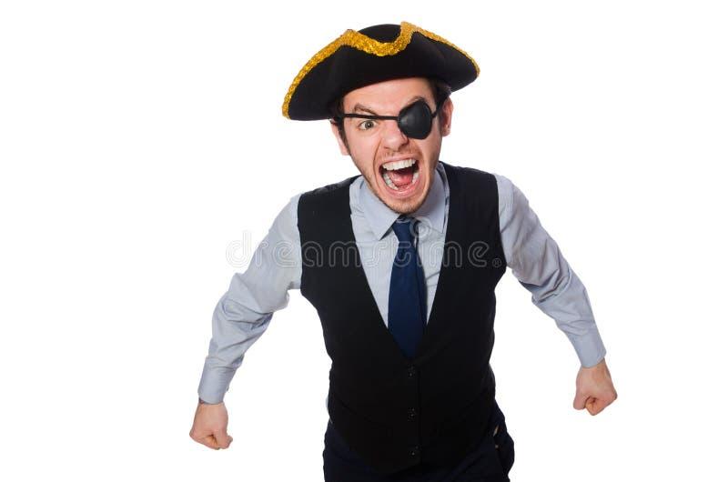 O pirata do homem de neg?cios isolado no fundo branco fotografia de stock royalty free